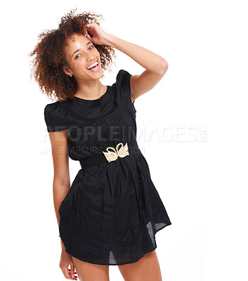 Buy stock photo Cute young woman laughing while feeling relaxed and isolated over white background - copyspace