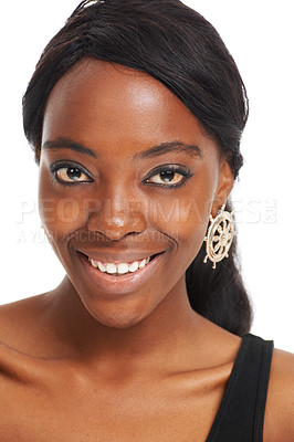 Buy stock photo Happy young woman smiling while isolated on white - closeup portrait