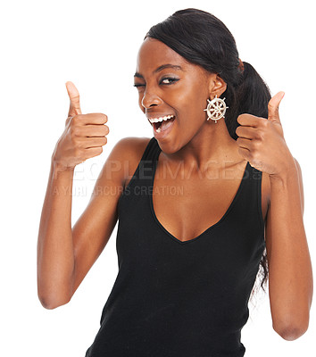Buy stock photo Laughing young woman giving two thumbs up isolated on white