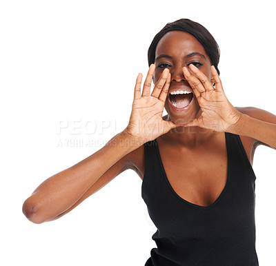 Buy stock photo Young African woman shouting with her hands at her mouth - isolated on white