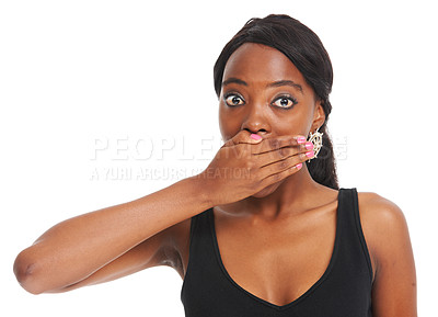 Buy stock photo Shocked young woman covering her mouth while isolated on white