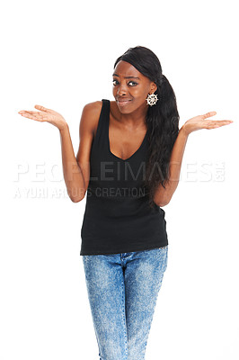 Buy stock photo Confused young woman standing isolated on a white background - copyspace