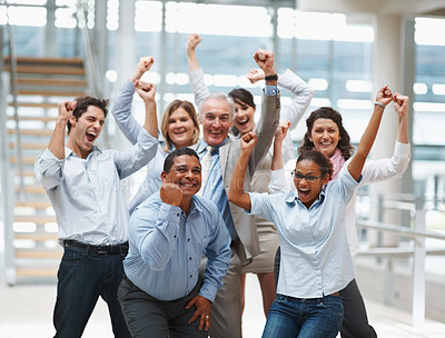 Buy stock photo Business success - Happy multi ethnic executives with hands raised