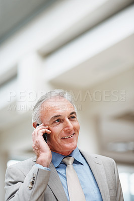 Buy stock photo Portrait of a senior business executive talking on mobile phone with copyspace