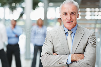 Buy stock photo Portrait of a confident senior business man with colleagues at the background
