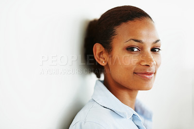Buy stock photo Closeup of a pretty African American female against a wall