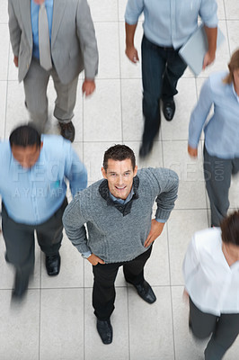 Buy stock photo Top view of young guy with other people walking besides him