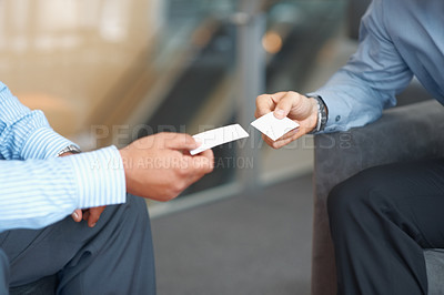 Buy stock photo Closeup portrait of two successful business executive exchanging business card