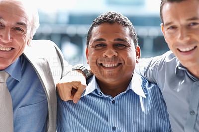 Buy stock photo Portrait of a group of three successful business executives