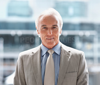 Buy stock photo Smiling senior business executive in a grey suit