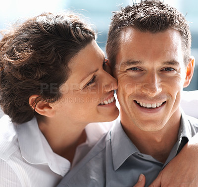 Buy stock photo Closeup of a mature pretty couple spending romantic moments together