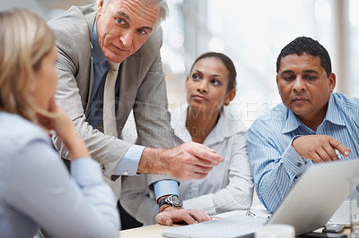 Buy stock photo Portrait of senior business manager discussing new project at office on laptop