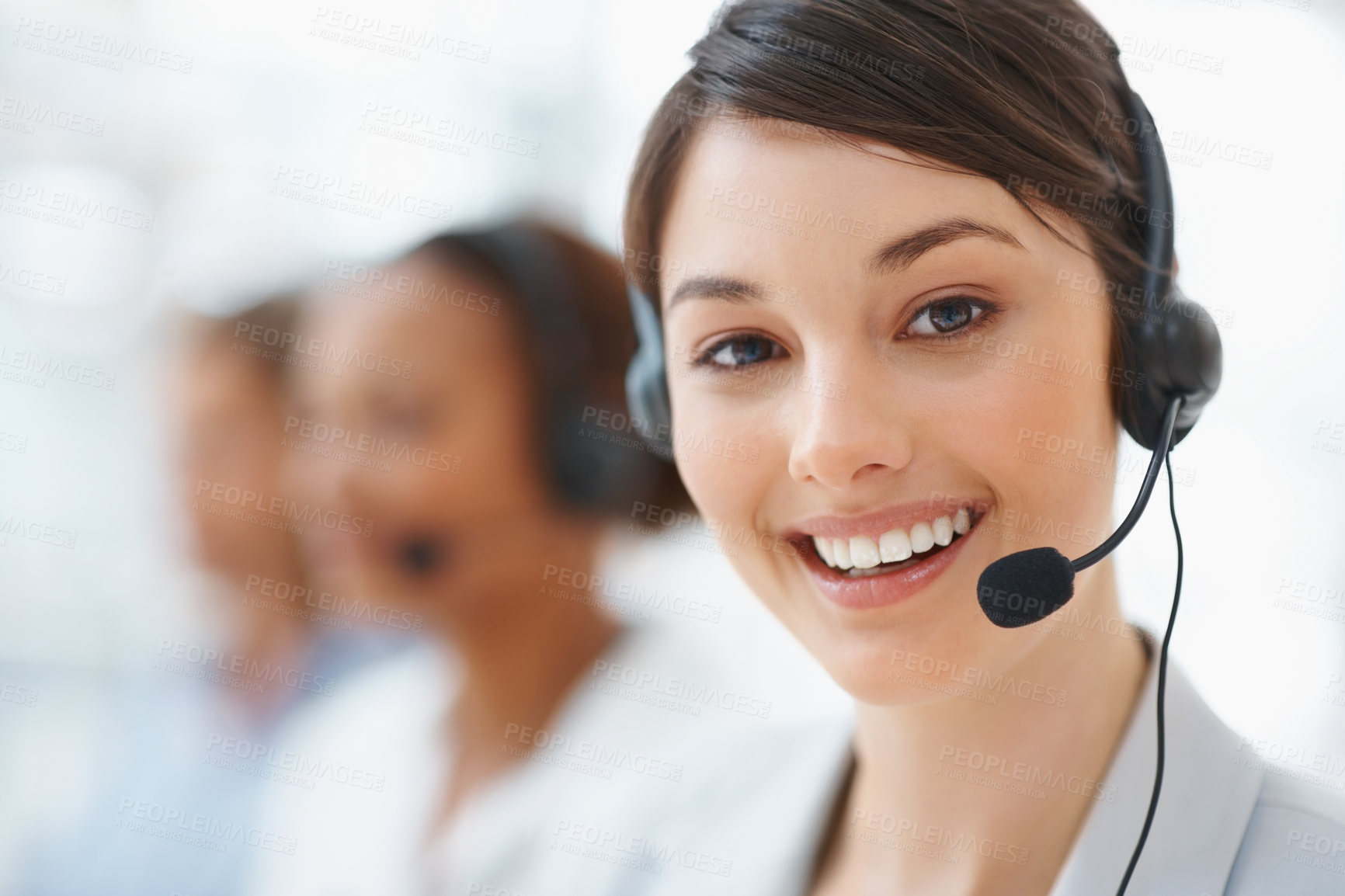 Buy stock photo Closeup of a beautiful business customer service woman smiling
