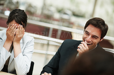 Buy stock photo Laughter - Successful business colleagues having a fun during a meeting
