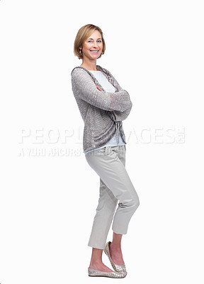 Buy stock photo Full length portrait of casual business woman standing with hands folded against white background