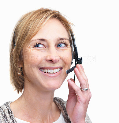 Buy stock photo Portrait of smiling casual business woman looking away while on a call - White background