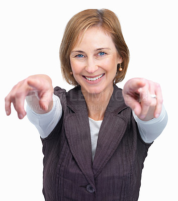 Buy stock photo Portrait of a pretty mature lady pointing at you with both hands - White background