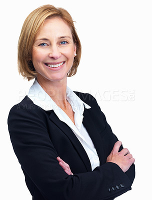Buy stock photo Closeup portrait of cheerful middle aged female lawyer standing with hands folded isolated over white background