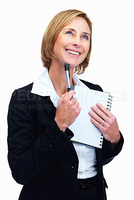 Buy stock photo Portrait of attractive mature female lawyer thinking and taking notes while looking away isolated over white background