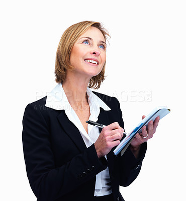 Buy stock photo Portrait of beautiful mature female lawyer taking notes while looking up - Copyspace