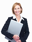 Cheerful mature female entrepreneur holding laptop