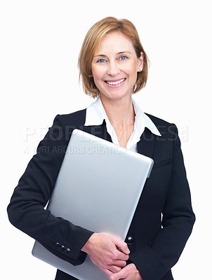 Buy stock photo Portrait of cheerful mature female entrepreneur holding laptop isolated over white background