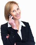 Portrait of beautiful mature female lawyer talking on mobile
