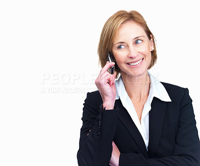 Buy stock photo Happy businesswoman talking on mobile looking at something interesting isolated over white background