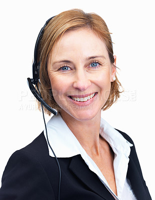 Buy stock photo Closeup portrait of cheerful middle aged customer service agent isolated over white background