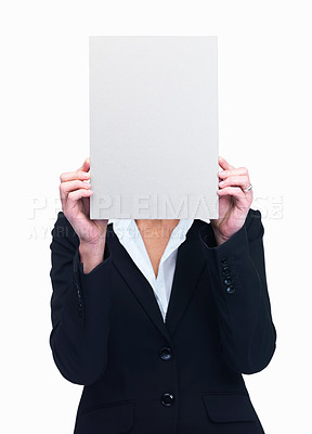 Buy stock photo Portrait of businesswoman holding blank billboard hiding her face isolated over white background