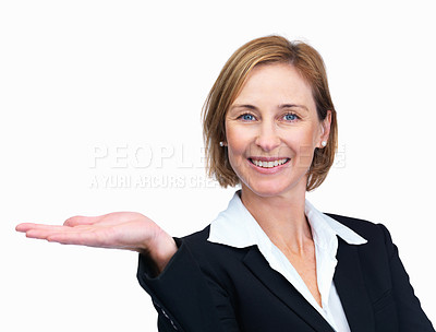 Buy stock photo Portrait of beautiful businesswoman presenting your product isolated over white background
