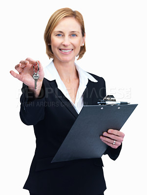 Buy stock photo Portrait of happy mature woman holding keys and writing pad isolated over white background