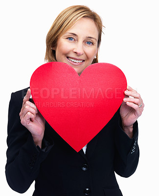 Buy stock photo Portrait of beautiful business woman holding red heart on white background