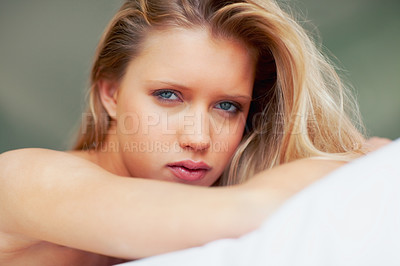 Buy stock photo Closeup portrait of a sexy young woman looking at you