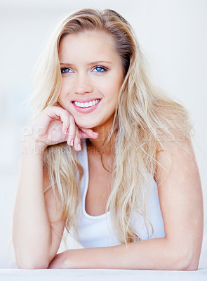 Buy stock photo Portrait of a beautiful young blond woman smiling