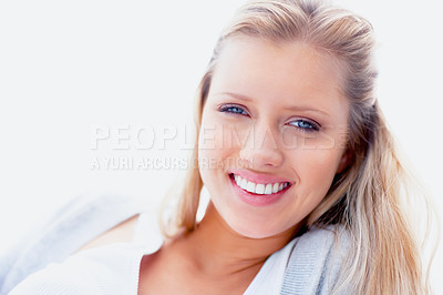 Buy stock photo Closeup portrait of a happy young woman isolated against a bright background