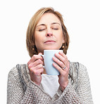 Pretty middle aged lady holding a cup of coffee  isolated over w