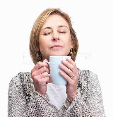 Buy stock photo Portrait of pretty middle aged lady holding a cup of coffee isolated over white background