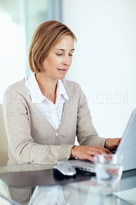 Buy stock photo Portrait of pretty middle aged businesswoman working on laptop at her workplace