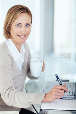 Buy stock photo Portrait of lovely businesswoman working at the office - Copyspace