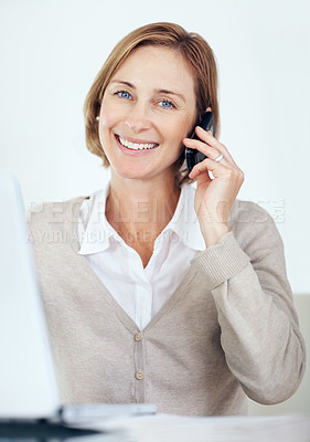 Buy stock photo Portrait of happy business woman talking on mobile phone - White background