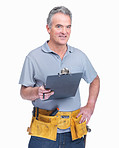 Mature handyman with a notepad isolated against white