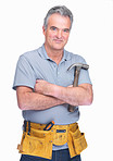 Confident handyman standing with a hammer in hand over white