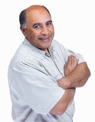Buy stock photo Portrait of a smiling mature man with hands folded isolated on white