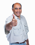 Happy mature man gesturing thumbs up sign against white