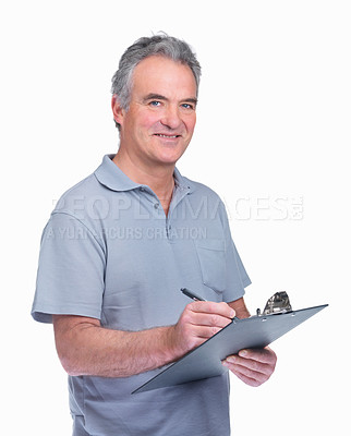 Buy stock photo Portrait of a happy elderly man using a noted isolated on white