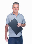 Happy senior man with notepad against white background