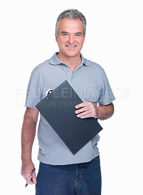 Buy stock photo Portrait of a smiling elderly man holding notepad against white background