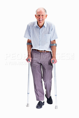 Buy stock photo Full length portrait of a senior man with crutches isolated against white background