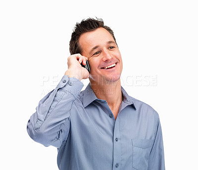 Buy stock photo Portrait of a mature man using a cell phone on white background